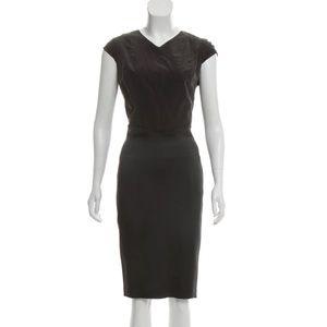 ZAC POSEN • Cap Sleeve Pleated Silk Midi Dress